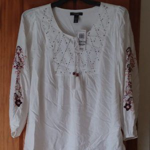 Style & Co Beaded/Floral Embroidered Boho Tunic 1X